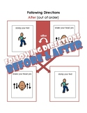 Following Directions: Before and After visuals and task cards