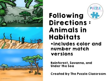 Following Directions- Animals in Their Habitat
