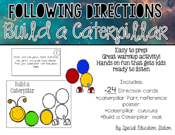 Following Directions; Build A Caterpillar {Easy Prep Activity}
