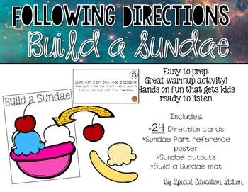 Following Directions; Build A Sundae {Easy Prep Activity}
