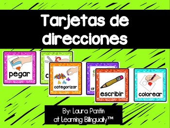 Following Directions Cards in Spanish - White Background