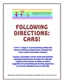 Following Directions: Cars (Pre K - K Listening Comprehension)