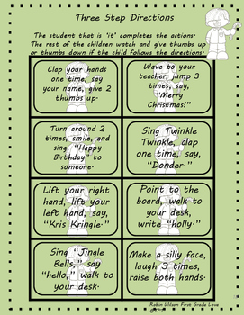 Following Directions Task Cards Christmas