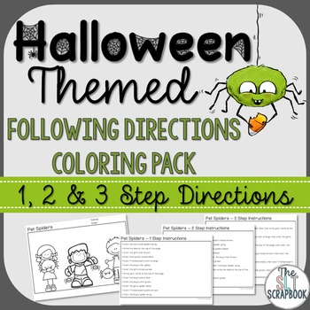 Following Directions Coloring Pack- Halloween Themed- 1, 2, 3 step directions
