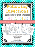 Following Directions Coloring Pages Bundle