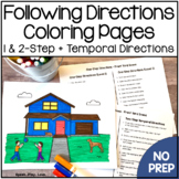 Following Directions Coloring Sheets 1 & 2 Step Directions