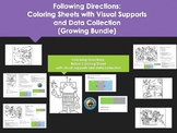 Following Directions Coloring Sheets with Visual Supports (Growing Bundle)