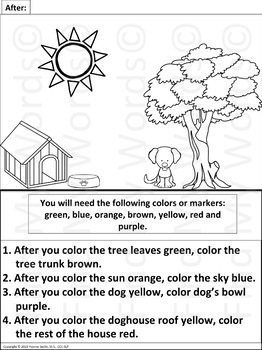 Following Directions Coloring Worksheets