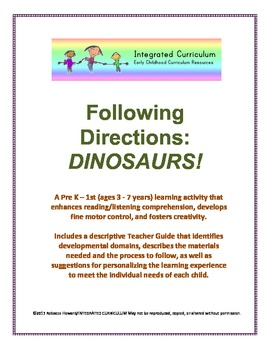 Following Directions: Dinosaurs (Pre-K - 1st Listening/Reading Comprehension)