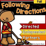 Following Directions Fall Activities