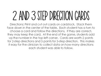 Following Directions Flashcards