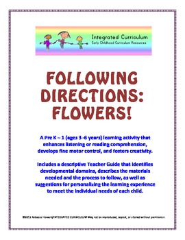 Following Directions: Flowers (pre-K - 1st Listening/Reading Comprehension)