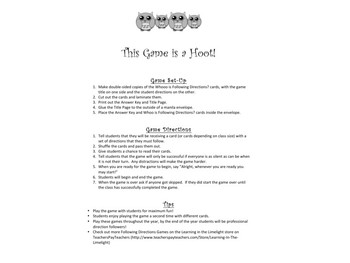 Following Directions Games Bundle- 4 Games Included!