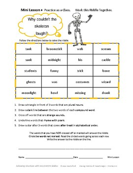 HALLOWEEN Riddles  CORE Language  FUN Vocabulary  Gr 3-4-5 Follow Directions