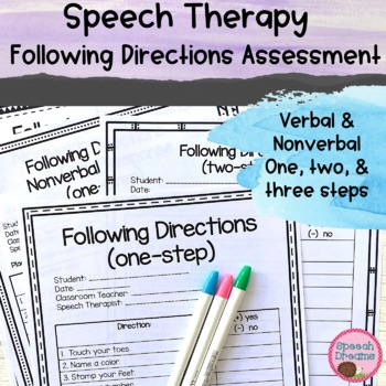 Following Directions Informal Assessment Data Collection & Screening Autism
