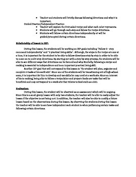 Following Directions Lesson Plan - Special Ed