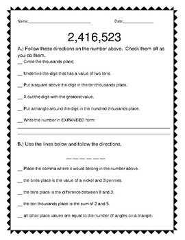 Place Value Practice - Following Directions