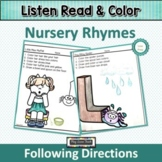 Following Directions Nursery Rhymes   Listen Read and Color