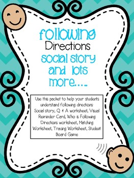 Following Directions PACKET--For Special Education and Autism