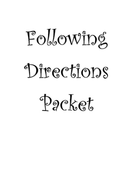 Following Directions Packet