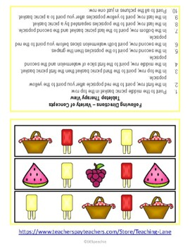 Following Directions - Picnic Theme - Freebie!