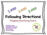Following Directions Progress Monitoring Bundle: Set A