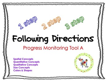 Following Directions Progress Monitoring Bundle: Set A