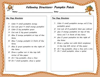 Following Directions- Pumpkin Patch