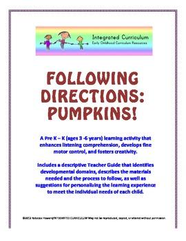 Following Directions: Pumpkins (Pre K - K Listening Comprehension)