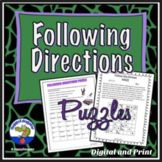 Following Directions Puzzles - Beginning of Year Activity Print and Digital