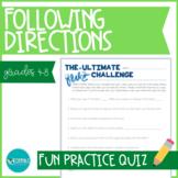 Following Directions Quiz