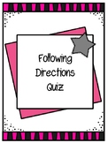 Following Directions Quiz Freebie