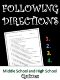 Following Directions Quizzes