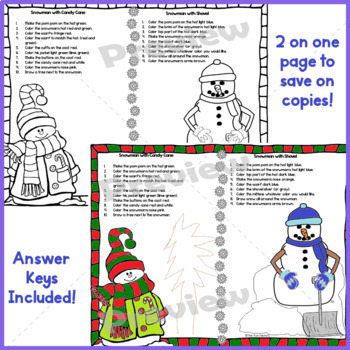 January~ Snowman~ Read and Follow Directions, Just Print, No Prep, 1st & 2nd