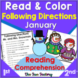Read and Follow Directions Activities January Snowman  1st & 2nd Grades