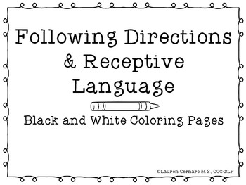 Following Directions & Receptive Language: Black and White Coloring Pages