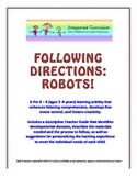 Following Directions: Robot (Pre K - K Listening Comprehension)
