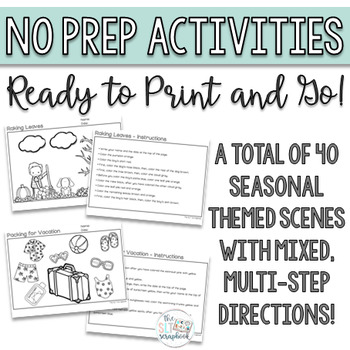 Following Directions Seasonal Bundle- No Prep Speech Therapy