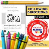 Following Directions - Sheet 10 - I Can Follow Directions Quickly and Quietly