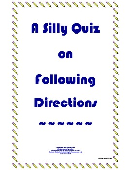 FREE Following Directions Silly Quiz Back to School All Subjects