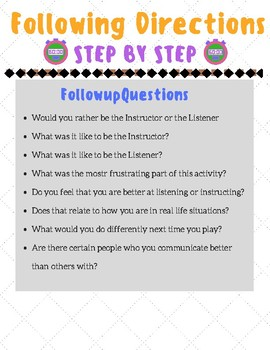 Following Directions- Social Skill Game