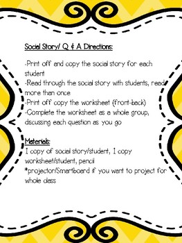 Following Directions Social Story-For Special Education and Autism