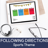 Following Directions-Sports Theme (NO PRINT) (BOOM CARD LESSON)