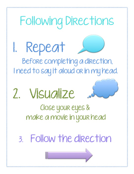 Following Directions Strategies Visual