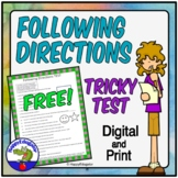 FREE Following Directions TEST -  A Tricky Following Directions Lesson