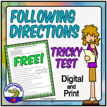 FREE Following Directions TEST -  A Tricky Following Direc