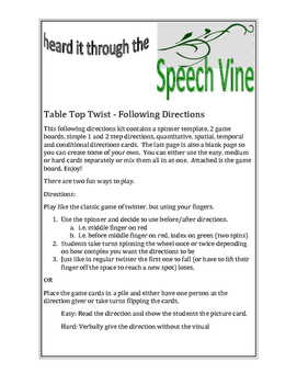 Following Directions - Table Top Twister