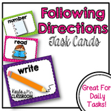 Following Directions Task Cards