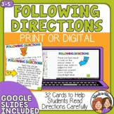 Following Directions Task Cards for 3rd, 4th, 5th
