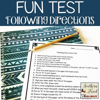 Following Directions Test